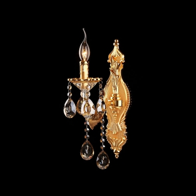 Delicate Polished Gold Finish and Beautiful Crystal Droplets Add Luxury to Gleaming One-light Wall Sconce