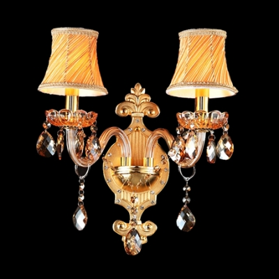 Fashion style fabric shades luxurious wall lights crystal lights delicate scrolling arms and amber crystals made traditional wall sconce luxurious look aloadofball Images