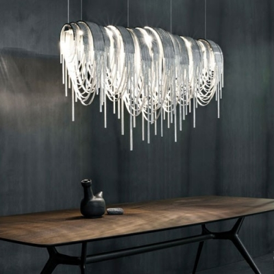Designer Lighting Chain Hanging Large Linear Pendant