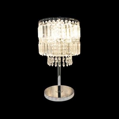 Electroplated Chrome Dimming Single Light Table Lamp Adorned with Gorgeous Square Crystals and Round Steel Base