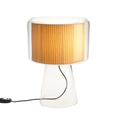 Fabric Inner Shade And Glass Outer Shaded Designer Table Lamp