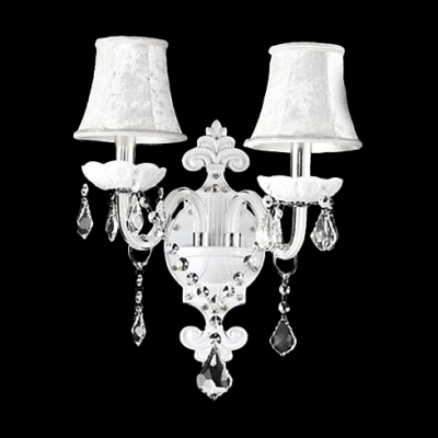Fabulous All White Two-light Wall Sconce Adorned with Beautiful Cut Crystal and Graceful Fabric Shades