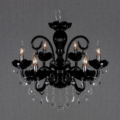 Glistening Clear Crystal Droplets and Jet Black Frame Splendid Chandeliers