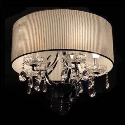 Gorgeous Clear Crystal Diamond Droplets Cream Shade Electroplated Chandelier