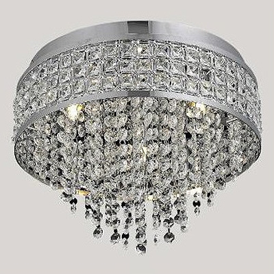 Graceful Metal Cut Shade Crystal Beads Embedded and Dropped Round Flush Mount Lights