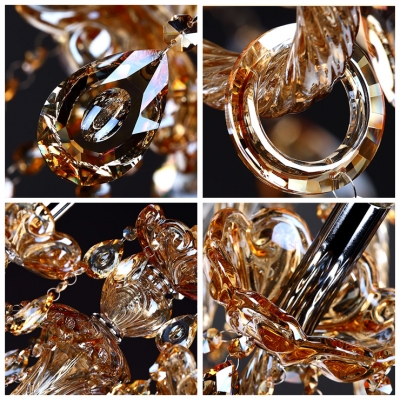 Jewel-Like Crystal Droplets Warm Chocolate Colored Crystal 6-Light Chandelier