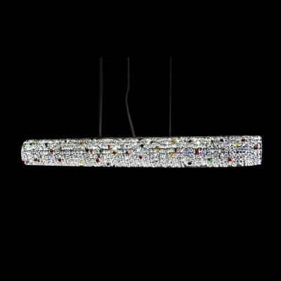 Lush and Bold Multi-Colored Crystals Embedded Round Rod LED Pendant Lighting