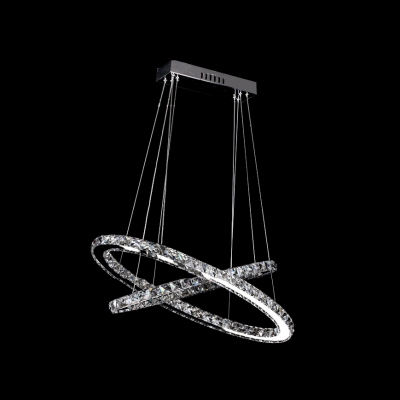 Luxuriou and Captivating LED Round Crystal Pendant Light  in Chrome Finish
