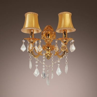 Luxury Two Light Wall Sconce Features White Fabric Shades Trimmed with Crystal Accents