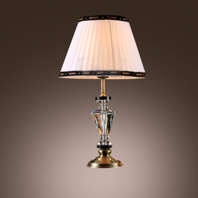 Pleated White Fabric Shade with Black Edging Add Glamour to Classic Look Table Lamp
