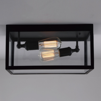 2 Light Double Clear Glass LED Ceiling Light ...