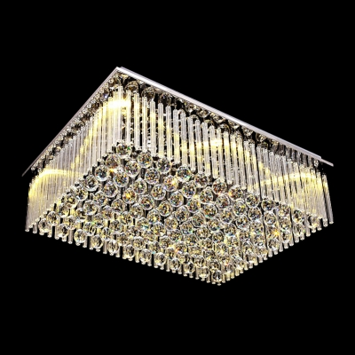 Fashion style rectangle crystal lights beautifulhalo shinning clear crystal glass rods rectangular flush mount with stainless steel canopy audiocablefo