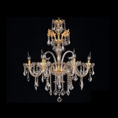 Six Candle Lights Elegant and  Luminous Gold Crystal Arms and Droplets