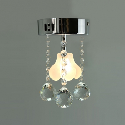 "Small 4.7""Wide Single Light Foyer Crystal Flush Mount Accented by Flower Shade and Crystal Balls"