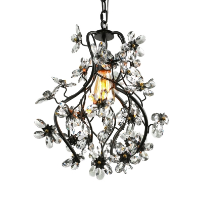 Sparkling Clear Crystal Floral and Swirled Branches Frame Black Wrought Iron Chandelier