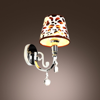 Sparkling Polished Silver Finish and Clear Crystal Drops Add Charm to Exquisite Wall Sconce with Brown Patterned Fabric Shade