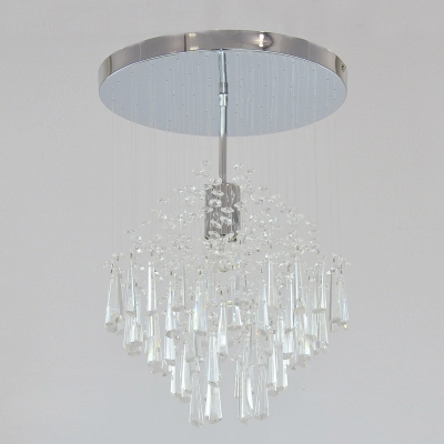 "Stunning 12"" Width Semi Flush Ceiling Light Features Polished Chrome Finish and Beautiful Faceted Crystal Beads Falls"