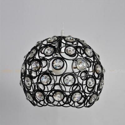 Stylish Black Finished Metal Frame Adorned with Crystal Beads Composed Striking Single Light Large Pendant