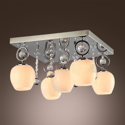 Twinkling Crystal Balls Embellished Five Lights Completed Gorgeous Modern Semi Flush Mount Ceiling Light