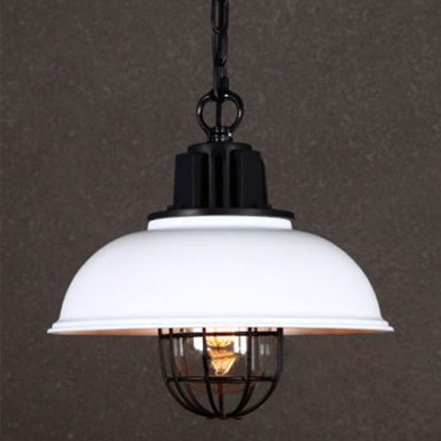 Black and White Single Light Barn Pendant with Cage