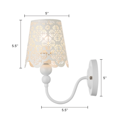 "Floral Carved Stainless Steel Designer Wall Light 10.6""High"