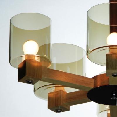 """Glass Drum Shade Wood Frame Designer Chandelier, 19.6""""Wide 4 Light"""