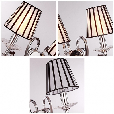 Appealing Black-White Fabric Shades and Chrome Finish Made Crystal Accent Wall Sconce Contemporary Look