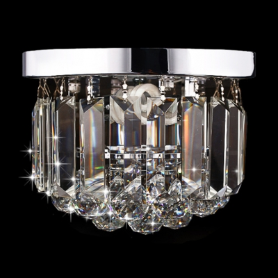 Charming and Brilliant Single Light Crystal Foyer Light Flush Mount