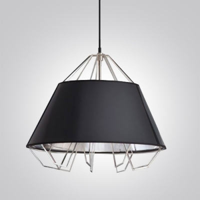 Chic Metal Drum Shade with Chrome Finished Cage Designer Pendant Lights