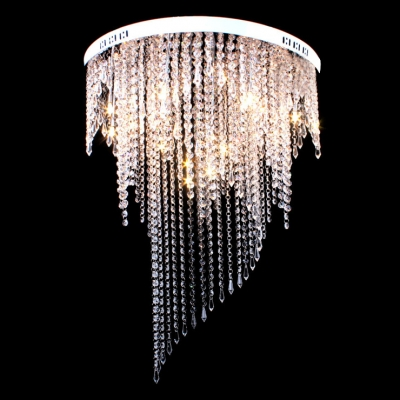 Clear Crystal Rain Round Chrome Finished Canopy Modern and Chic Flush Mount Lighting