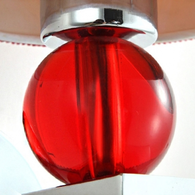 Contemporary Bold Wall Sconce Completed Crystal Balls and Beautiful Red Fabric Drum Shade