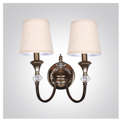 Curvaceous Sleek Antique Brass Two Light Crystal Wall Sconce