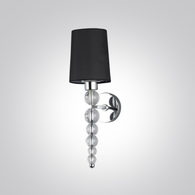 Decorative Crystal Balls Wall Light Sconce Features Black  Hardback with Lined Fabric Shade