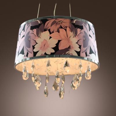 Delicate Delightful Four -light Crystal Large Pendant with Purple Drum Shape