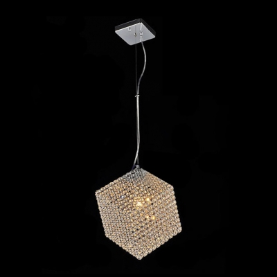 Delightful Single Light Fantastic Cube Shade and Chrome Finish Frame Composed Modern Mini Pendant Light