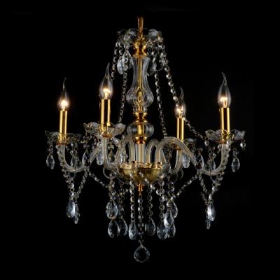 Elegant and Sleek Four Lights Crystal Droplets Accented Chandelier Finished Glod