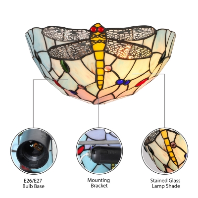 Euro Style Blue Glass Shade with Dragonfly Pattern Delicate 12 Inches High Wall Washer