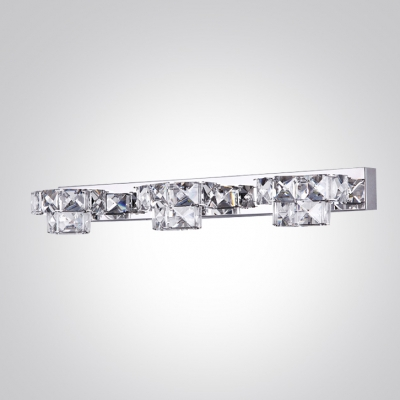 Glamorous Bathroom Fixture Features Silver Finish with Clear Crystal