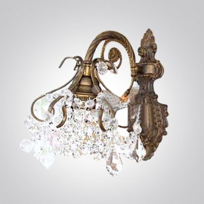 Gleaming Contemporary Wall Sconce Features Gracefyl Iron Frame Paired with Sparkling Crystal Beads
