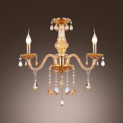 Gleaming Crystal Chandelier Featuring Three Lights and Luxury Gold Finish Illuminated in Exquisite style
