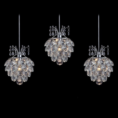 Graceful Three Light Multi-Light Pendant Completed with Dazzling Clear Crystal Beads and Delicate Polished Chrome Finish Frame