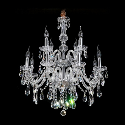 Gracefully 12-Light Two-Tiered Crystal Chandelier Shine with Brilliance Clear Crystal Drops