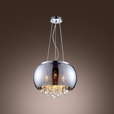 Fashion style chandeliers pendants mini pendants crystal lights gracefully smoky glass round shade chrome finished modern pendant light hanging crystal balls aloadofball