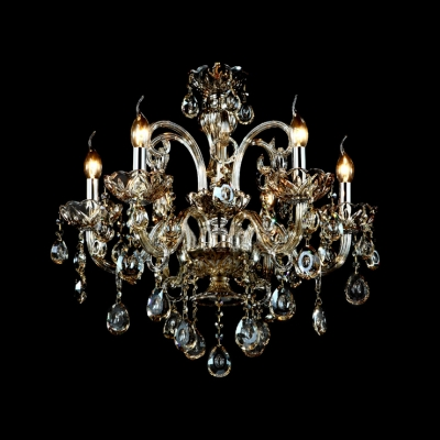 Grand and luminous Clear Hand-cut Crystal Chandelier Gleams with Amber Finish and Curving Scrolling Arms