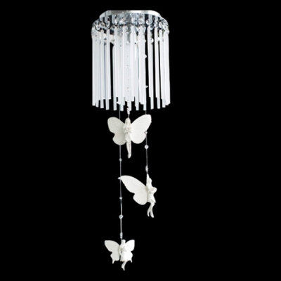 Hanging Lovely Resin Angles Crystal Glass Rods Falling Flush Mount Light Accented by Crystals
