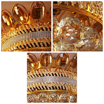 Luxurious Golden Frame Crystal Beaded Strands Wrapped 16.5