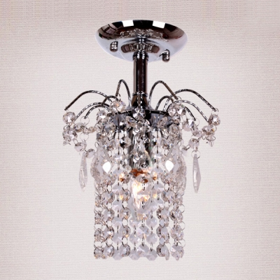 Magnificent Semi Flush Mount Light Features Graceful Scrolling Arms and  Beautiful Clear Crystal Falls
