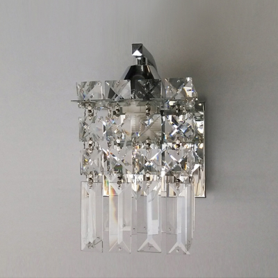 Polished Chrome Finish Wall Light Sconce Accented with a Column of  Faceted Crystals for Romantic Look