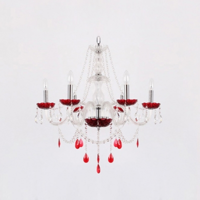 Red Crystal Droplets and Bobeches Sparkling Clear Crystal Romantic Chandelier