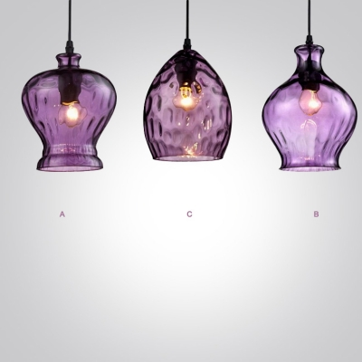 Romantic Purple Colored Glass Industrial Style Pendant Light